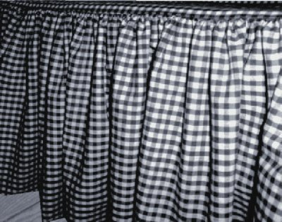 Navy Blue Gingham Check Bedskirt In All Sizes From Twin