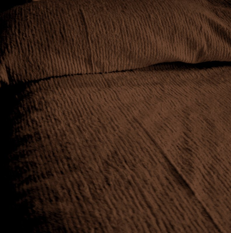 Solid Brown Ribbed Cotton Chenille Bedspread With Vintage