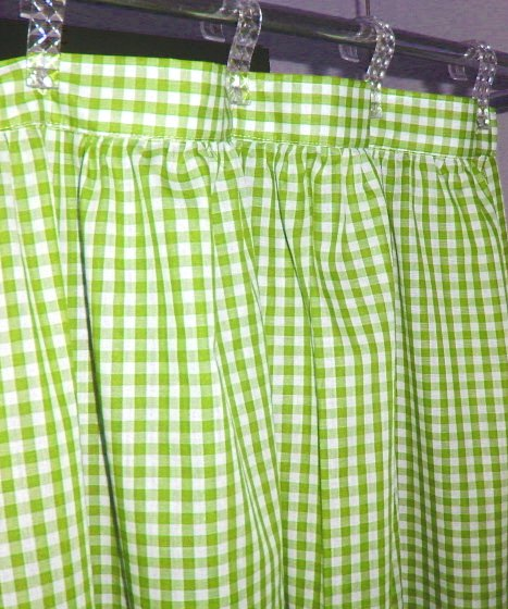 Lime Green Gingham Check Shower Curtain