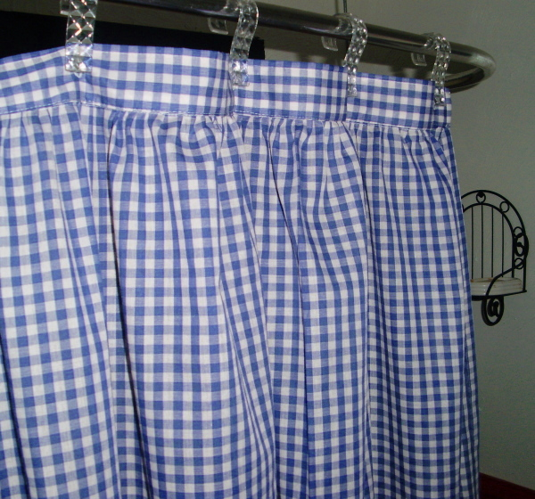 periwinkle royal blue gingham check shower curtain