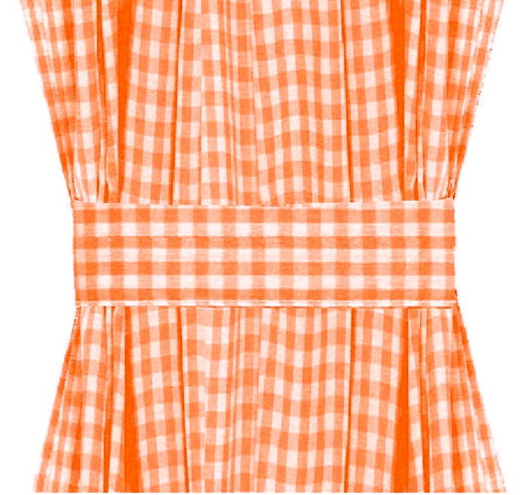 Orange Gingham French Door Curtain Panels (available in many lengths)