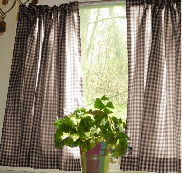 Brown Gingham Kitchen Caf Curtain Unlined Or With White Or Blackout Lining In Many Custom Lengths