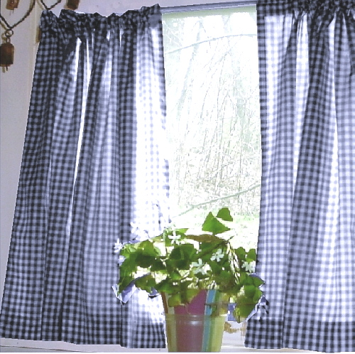 Dark Royal Blue Gingham Kitchen/Café Curtain (unlined Or