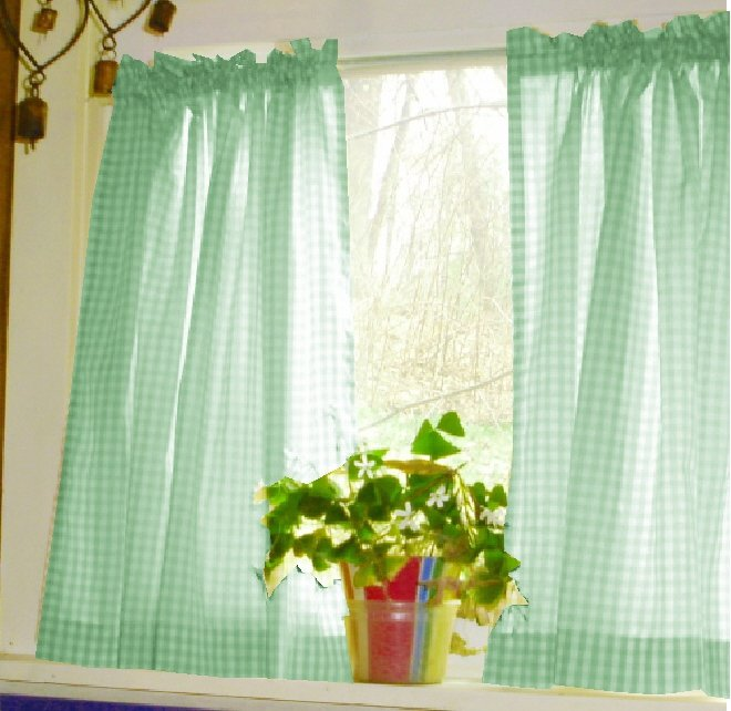 Mint Green Gingham Kitchen/Café Curtain (unlined Or With