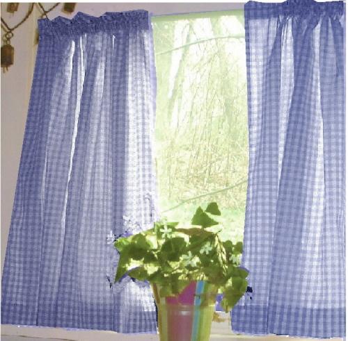 Periwinkle Royal Blue Gingham Kitchen/Café Curtain