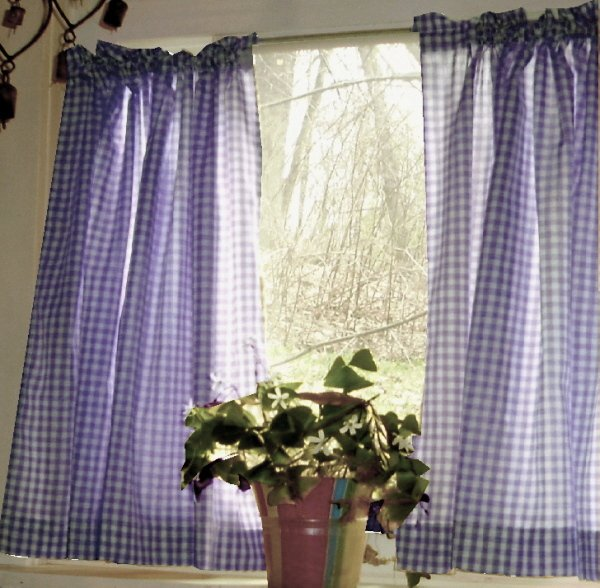 Purple Gingham Kitchen Caf Curtain Unlined Or With White Or Blackout Lining In Many Custom