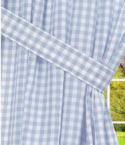 light blue gingham check window long curtain available. Black Bedroom Furniture Sets. Home Design Ideas