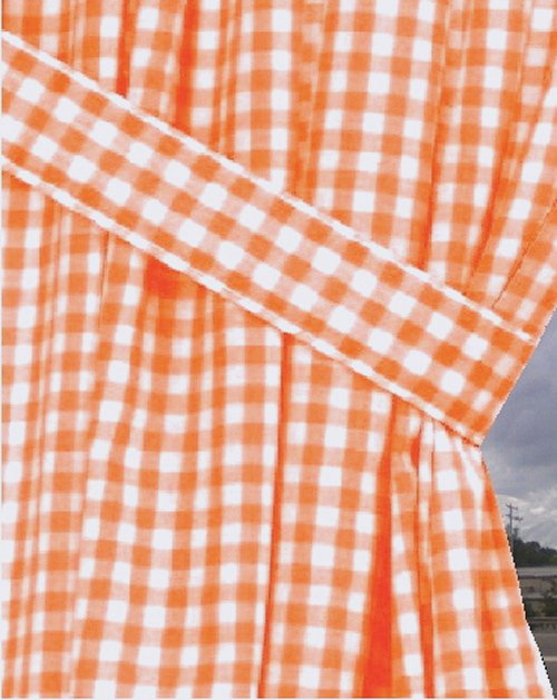 Orange Gingham Check Window Long Curtain Available In Many Lengths And With Or Without White Or