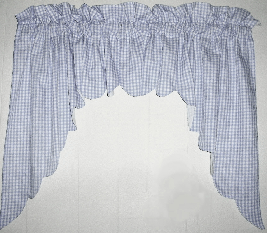 light blue scalloped window swag valance with white lining. Black Bedroom Furniture Sets. Home Design Ideas
