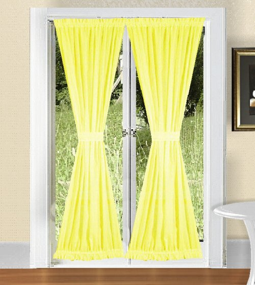 solid bright lemon yellow colored french door curtain