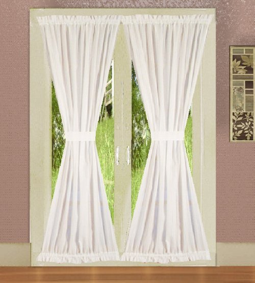 Solid Bright White Colored French Door Curtain Available