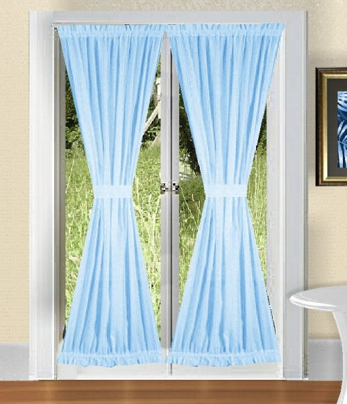 solid light baby blue colored french door curtain