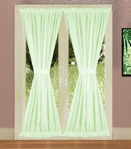 Get Solid Light Green Colored French Door Curtains With
