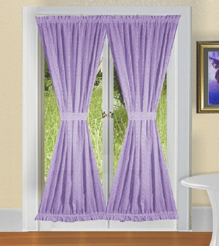 curtains solid light purple lilac colored french door curtain