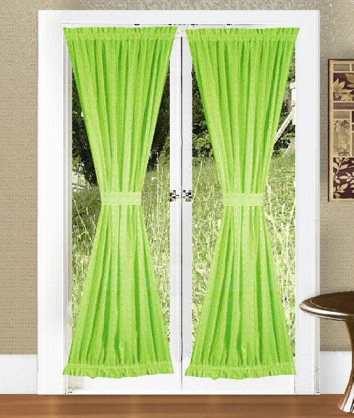 solid lime green colored french door curtain available in
