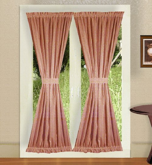 solid rose colored french door curtain available in many