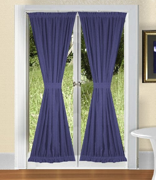 home curtains solid royal blue colored french door curtain