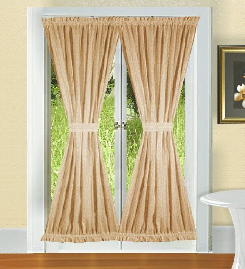 Solid Tan Colored French Door Curtain Available In Many