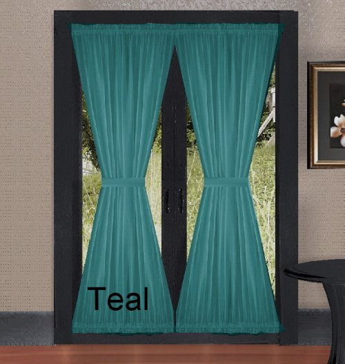 solid teal colored french door curtain available in many
