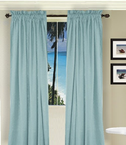 Solid Light Baby Blue Colored Window Long Curtain ...