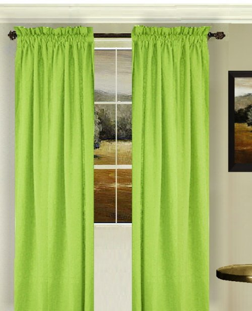 Solid Lime Green Colored Window Long Curtain Available In