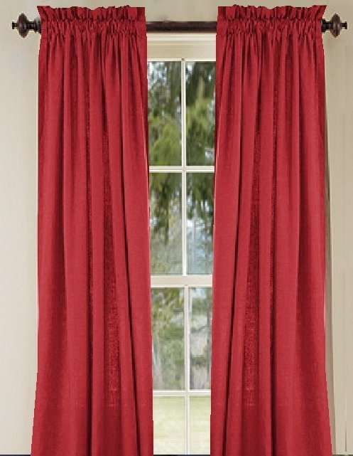 solid red colored french door curtain available in many