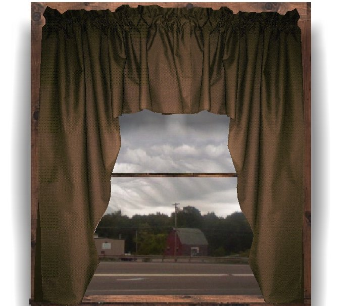 Solid Brown Colored Swag Window Valance Optional Center