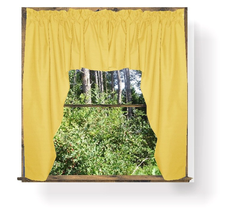home curtains solid golden yellow colored swag window valance