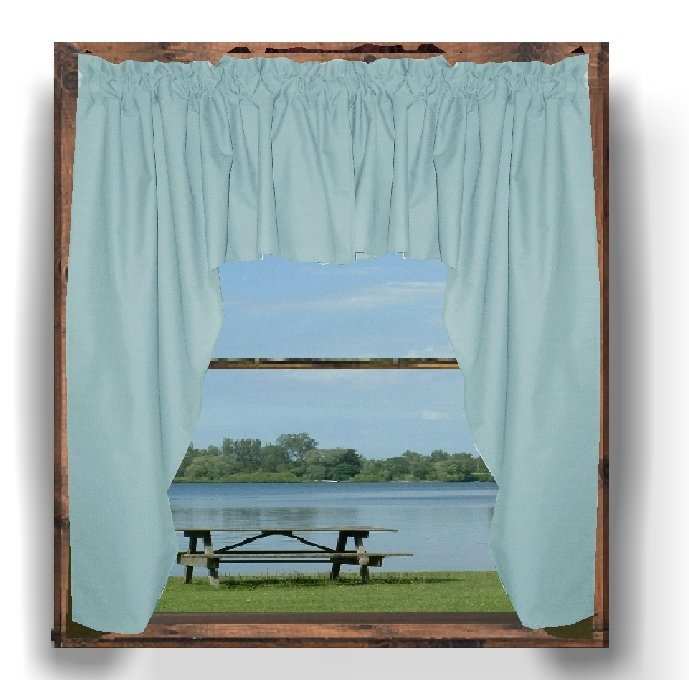 solid light baby blue colored swag window valance. Black Bedroom Furniture Sets. Home Design Ideas