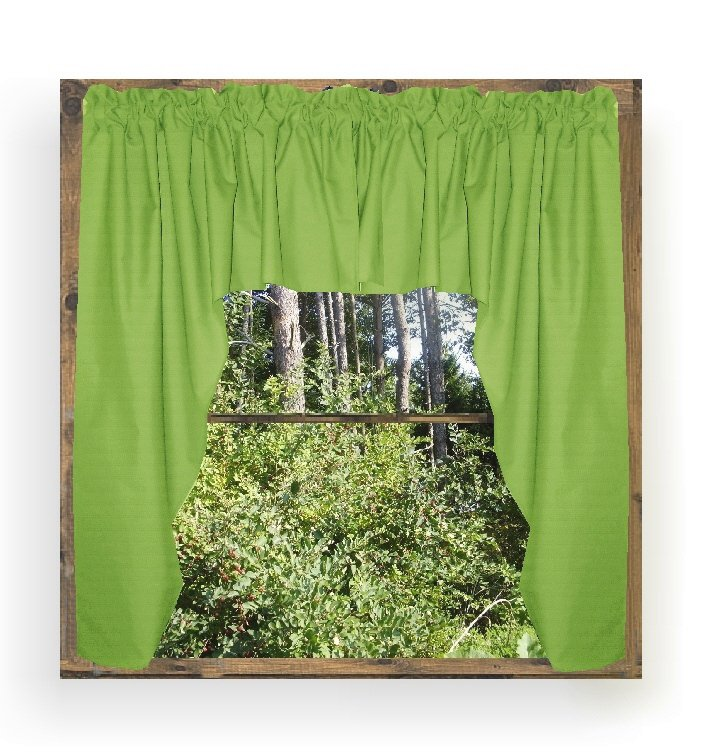 Solid Lime Green Colored Swag Window Valance Optional Center Piece Available