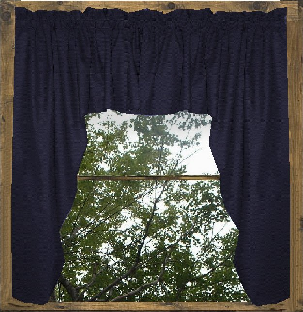 Solid Navy Blue Colored Swag Window Valance Optional