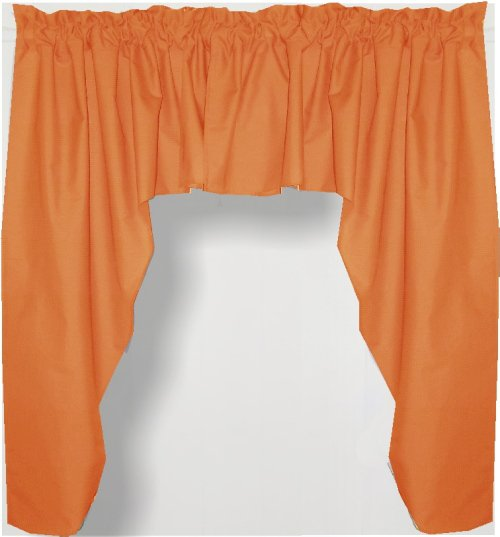 Solid Orange Colored Swag Window Valance Optional Center