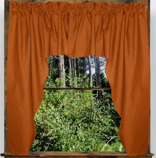 Solid Rust Colored Swag Window Valance Optional Center