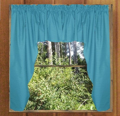 solid turquoise colored swag window valance optional