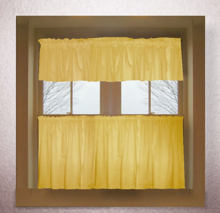 Solid gold colored caf style curtain includes 2 valances for 18x18 window