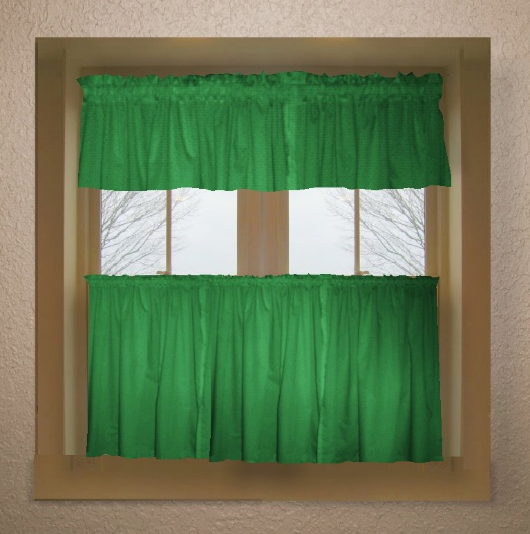 Green And White Kitchen Curtains: Kelley Green Color Tier Kitchen Curtain Two Panel Set
