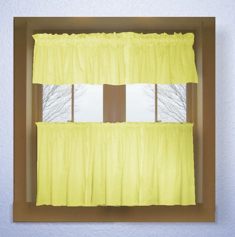 Light Yellow Color Tier Kitchen Curtain Two Panel Set
