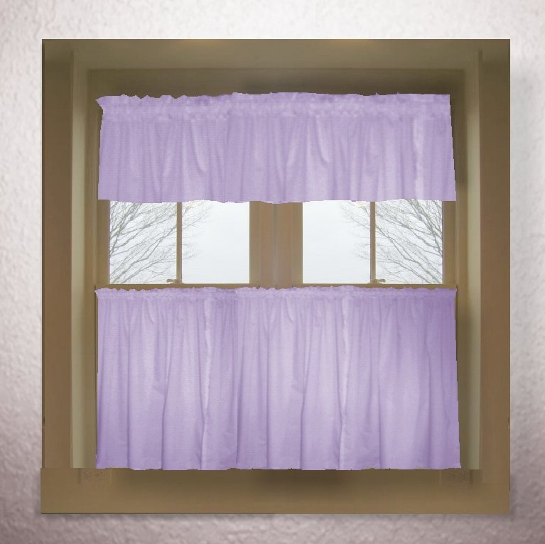 Light Purple Lilac Color Tier Kitchen Curtain Two Panel Set
