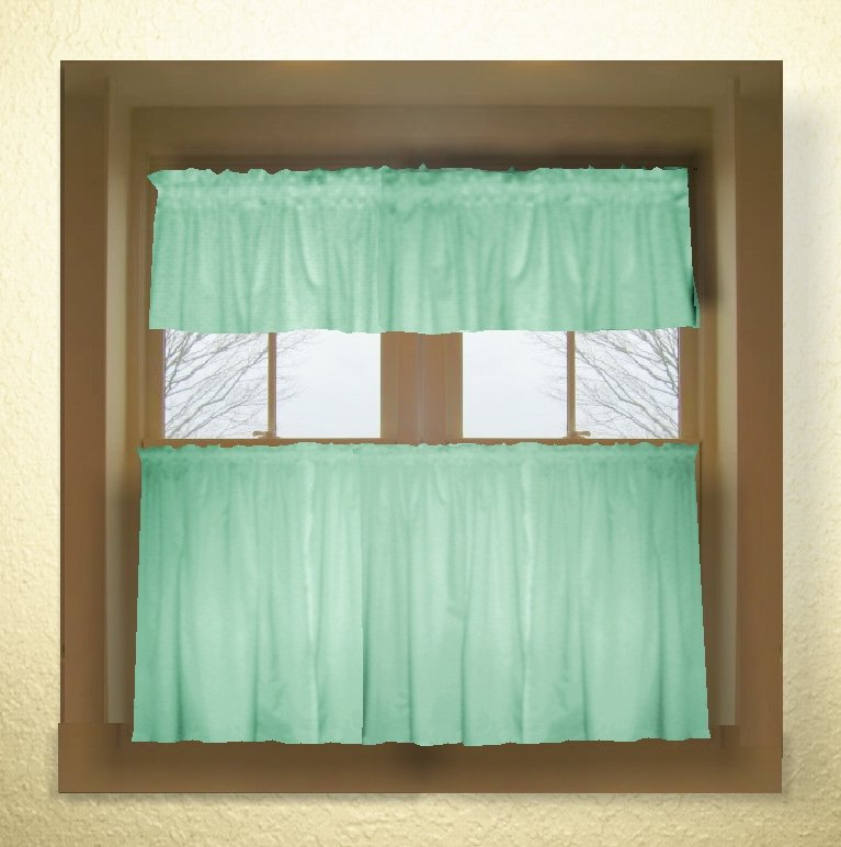 Mint Green Color Tier Kitchen Curtain Two Panel Set