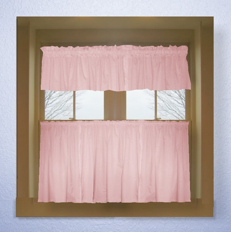 Solid Pink Colored Café Style Curtain (includes 2 Valances