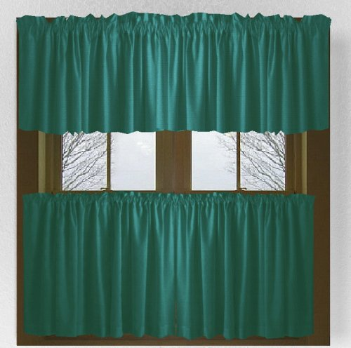 solid teal colored caf 233 style curtain includes 2 valances