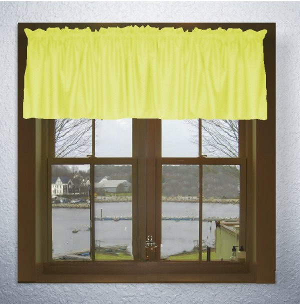 Home > Curtains > Solid Lemon Yellow Color Valances (set of two 40 ...