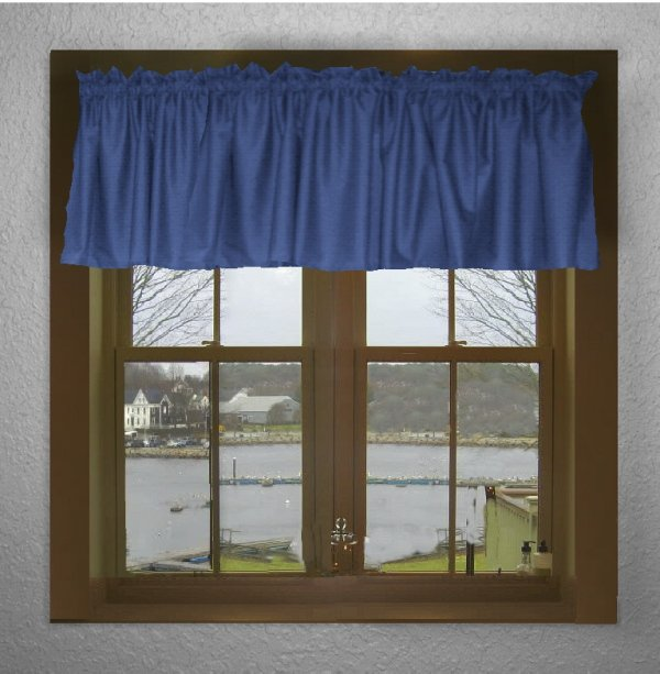 Solid royal blue color valance in many lengths custom size for 18x18 window