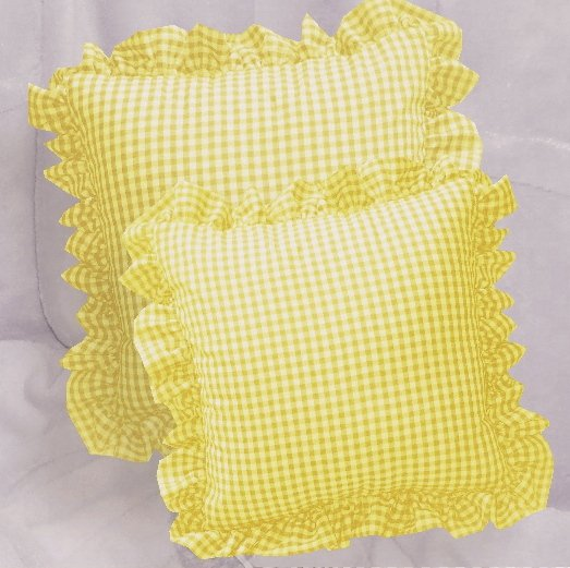Yellow Gingham Check Accent Pillow with Removable Ruffled Edge Cover (available in 16x16 or 18x18)
