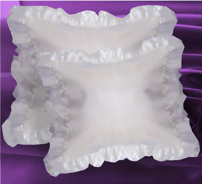 White Satin Ruffled Edge Throw Pillow Cover with Pillow Insert (available in 16x16 or 18x18)