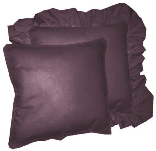 Eggplant Colored Throw Pillows : Solid Eggplant Purple Colored Accent Pillow with Removable Ruffled or Corded Edge (in 16x16 or ...