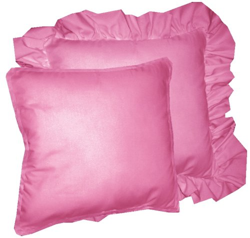 Pink Ruffled Throw Pillows : Solid Hot Pink-Fuchsia Colored Accent Pillow with Removable Ruffled or Corded Edge (in 16x16 or ...