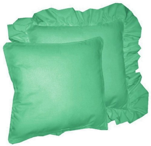 Jade Decorative Pillows : Solid Jade Green Colored Accent Pillow with Removable Ruffled or Corded Edge (in 16x16 or 18x18)