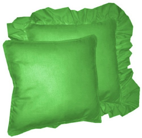 Kelly Green Throw Pillow : Solid Kelly Green Colored Accent Pillow with Removable Ruffled or Corded Edge (in 16x16 or 18x18)
