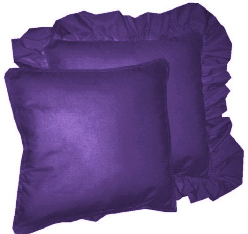 Solid Purple Decorative Pillows : Solid Purple Colored Accent Pillow with Removable Ruffled or Corded Edge (in 16x16 or 18x18)